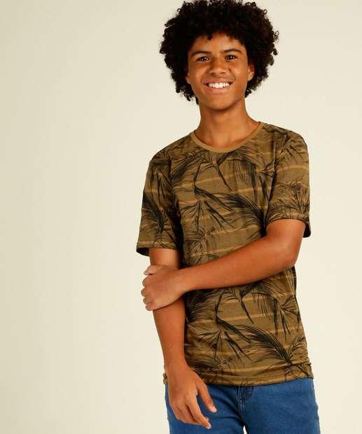 Image_Camiseta Juvenil Listrada Folhas MR Tam 10 a 16