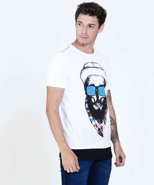 Image_Camiseta Masculina Estampa Caveira Manga Curta Tribo