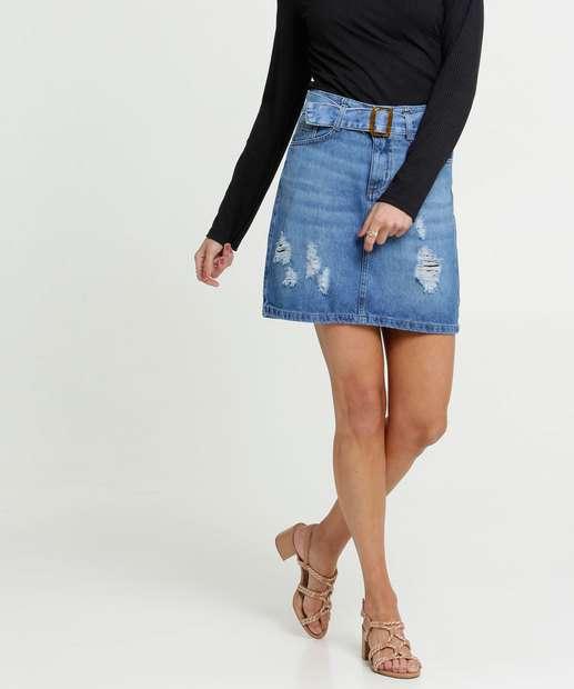 Image_Saia Feminina Jeans Destroyed Cinto
