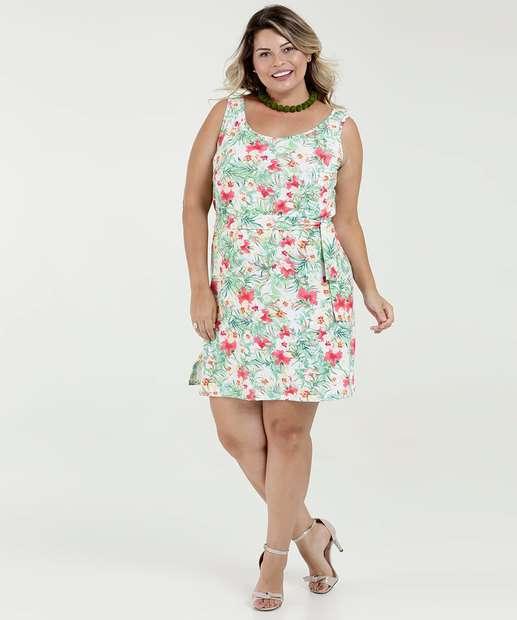Image_Vestido Feminino Estampa Floral Sem Manga Plus Size RRM