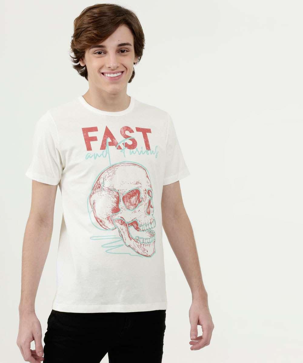 Camiseta Juvenil Estampa Caveira Manga Curta