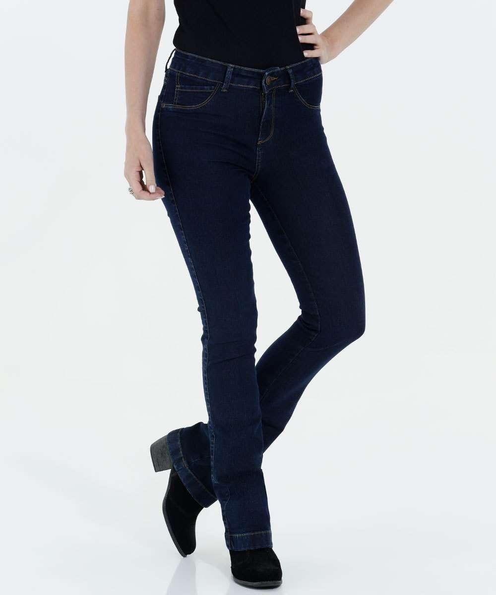 Calça Feminina Boot Cut Jeans Cintura Alta Marisa