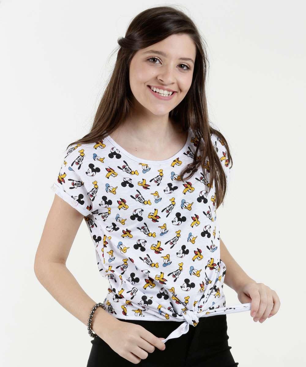 Blusa Juvenil Estampada Manga Curta Disney