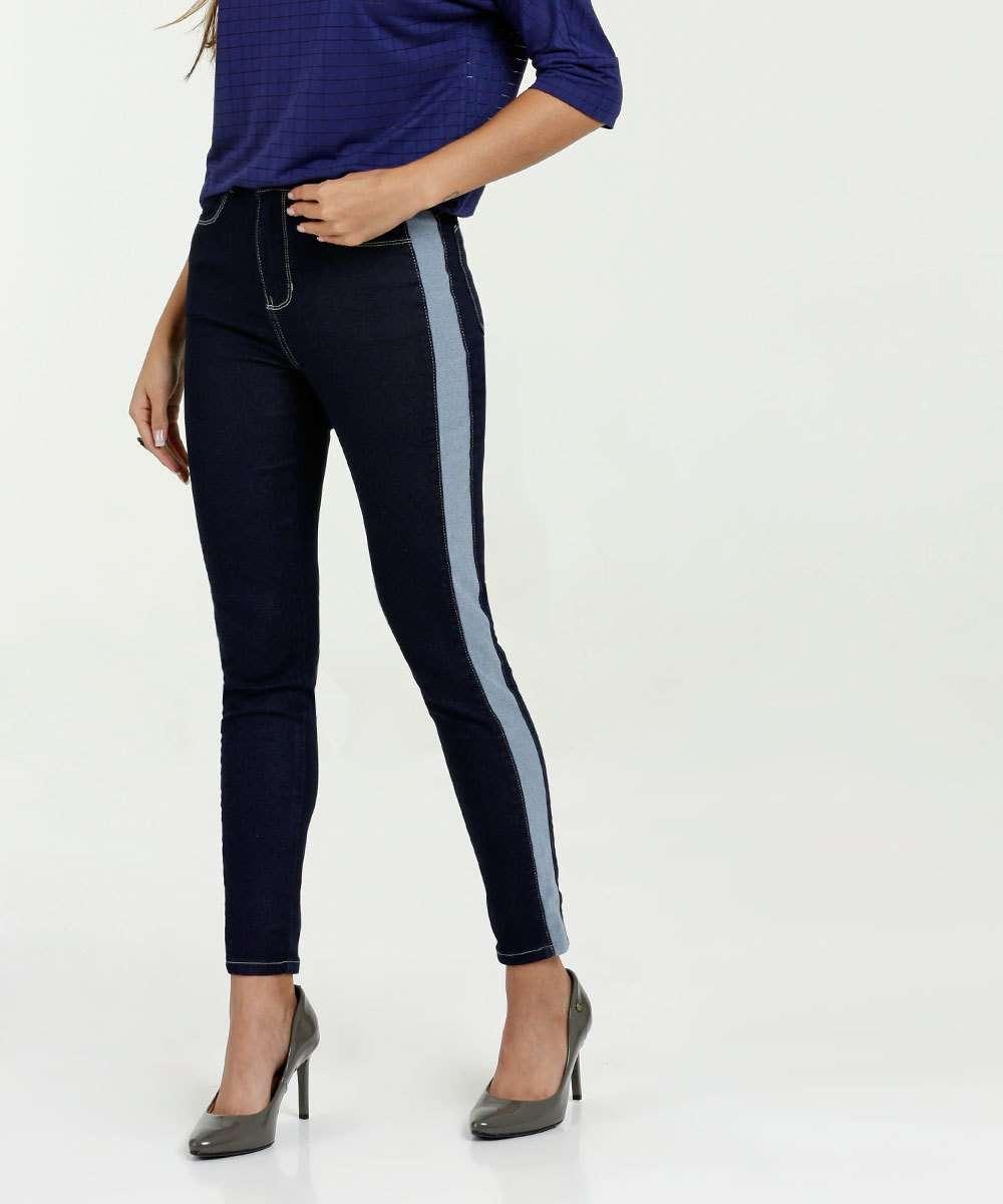 c1c23725f Calça Feminina Jeans Skinny Listras Marisa | Marisa