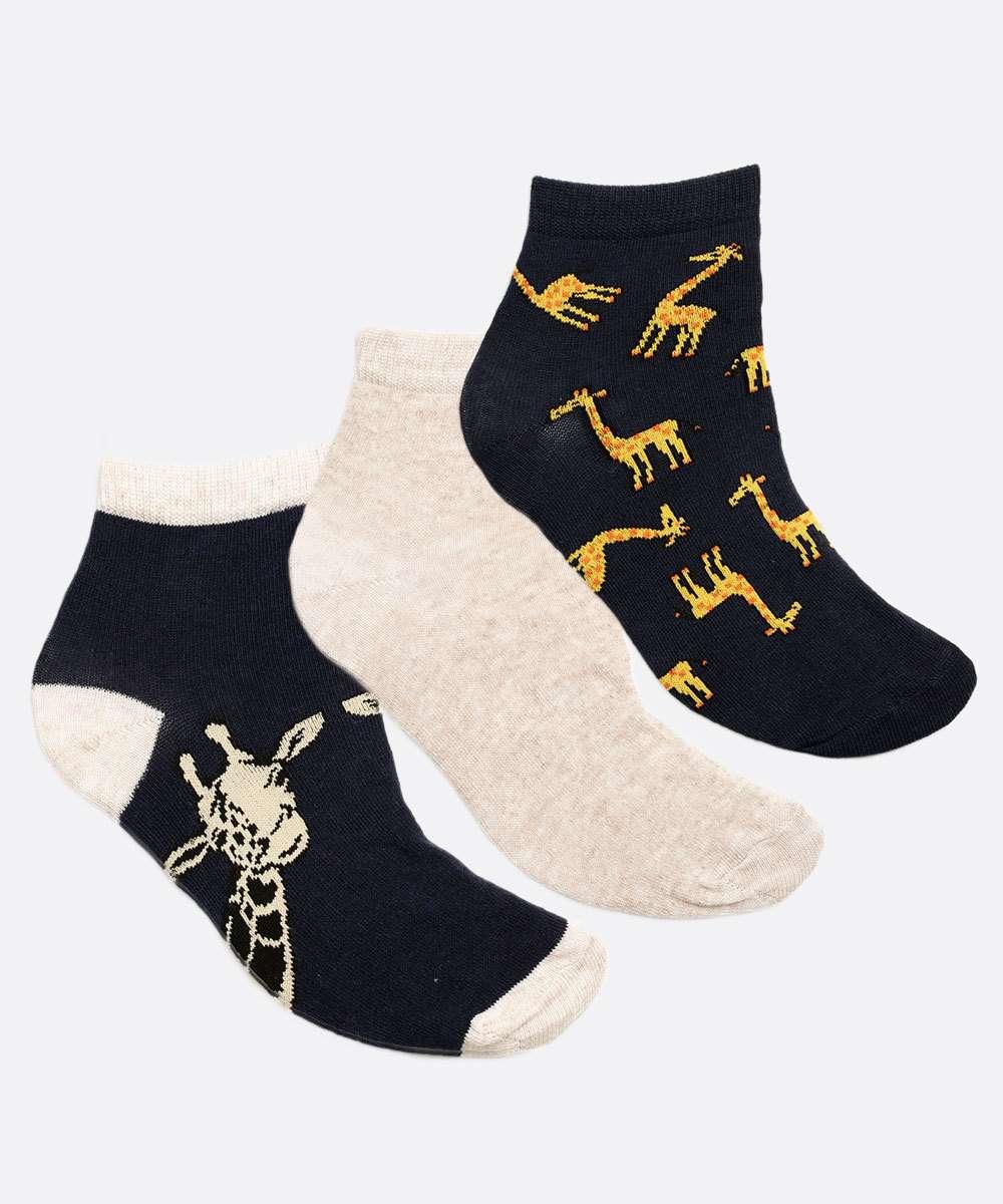 Kit Feminino 3 Pares Meias Soquete Estampa Girafa Marisa