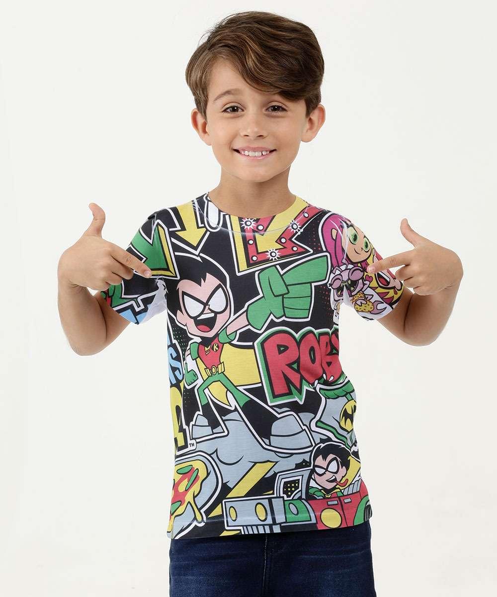 Camiseta Infantil Estampa Robin Manga Curta Teen Titans