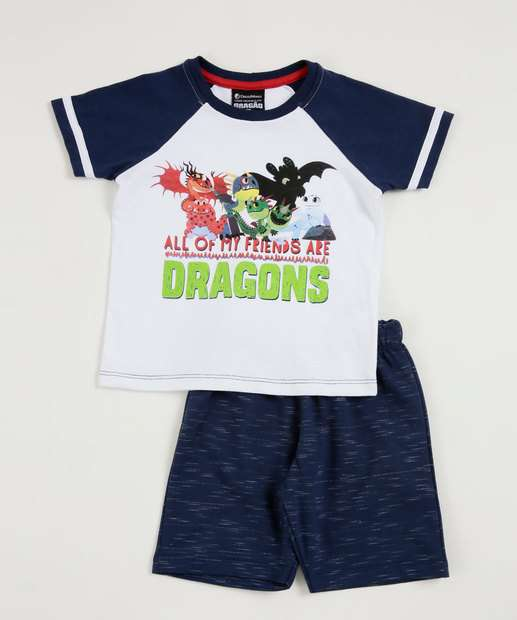 Image_Conjunto Infantil Estampa Dragões Manga Curta Universal