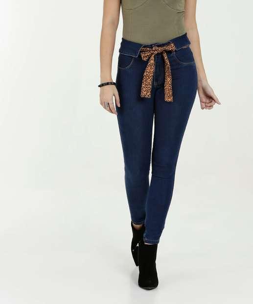 Image_Calça Feminina Jeans Skinny Faixa Animal Print Biotipo