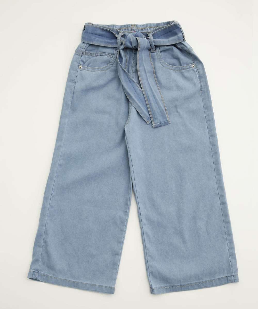 Calça Infantil Jeans Pantacourt Amarração Marisa Tam 4 a 10