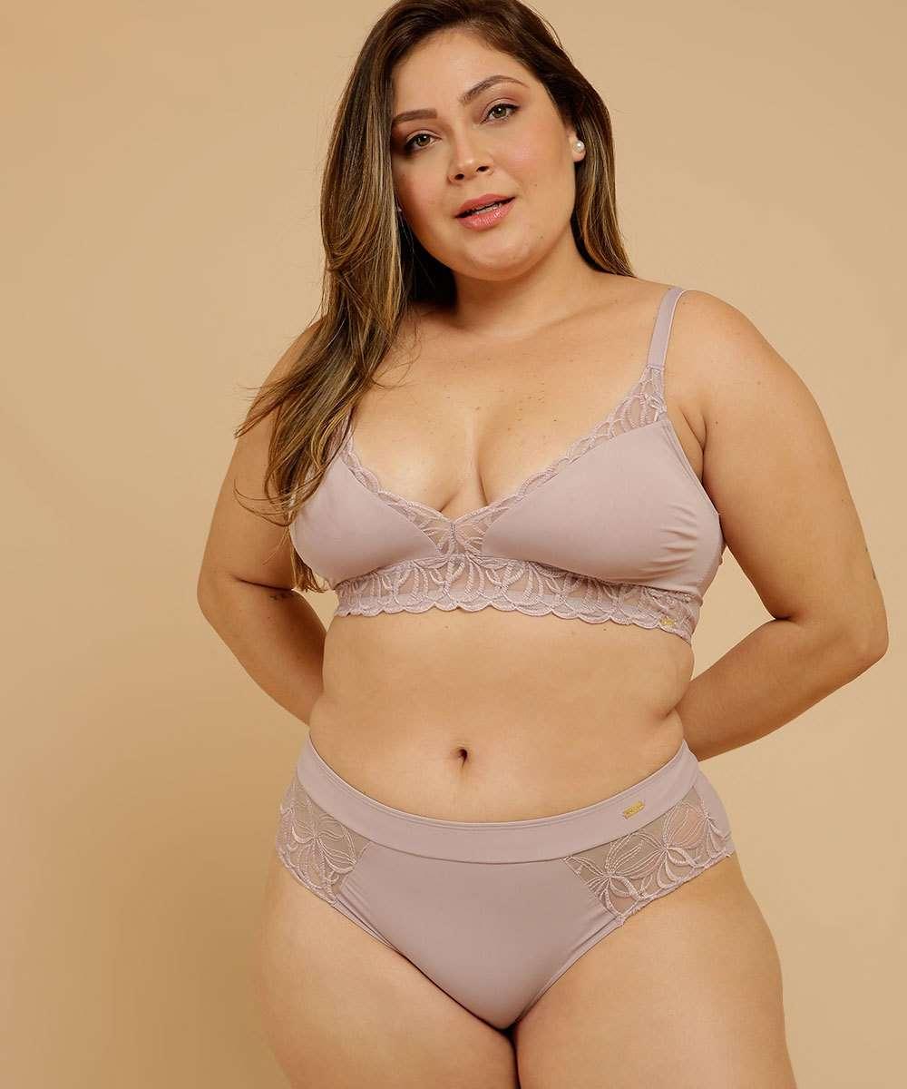Calcinha Plus Size Feminina Alta Recorte Renda Dilady