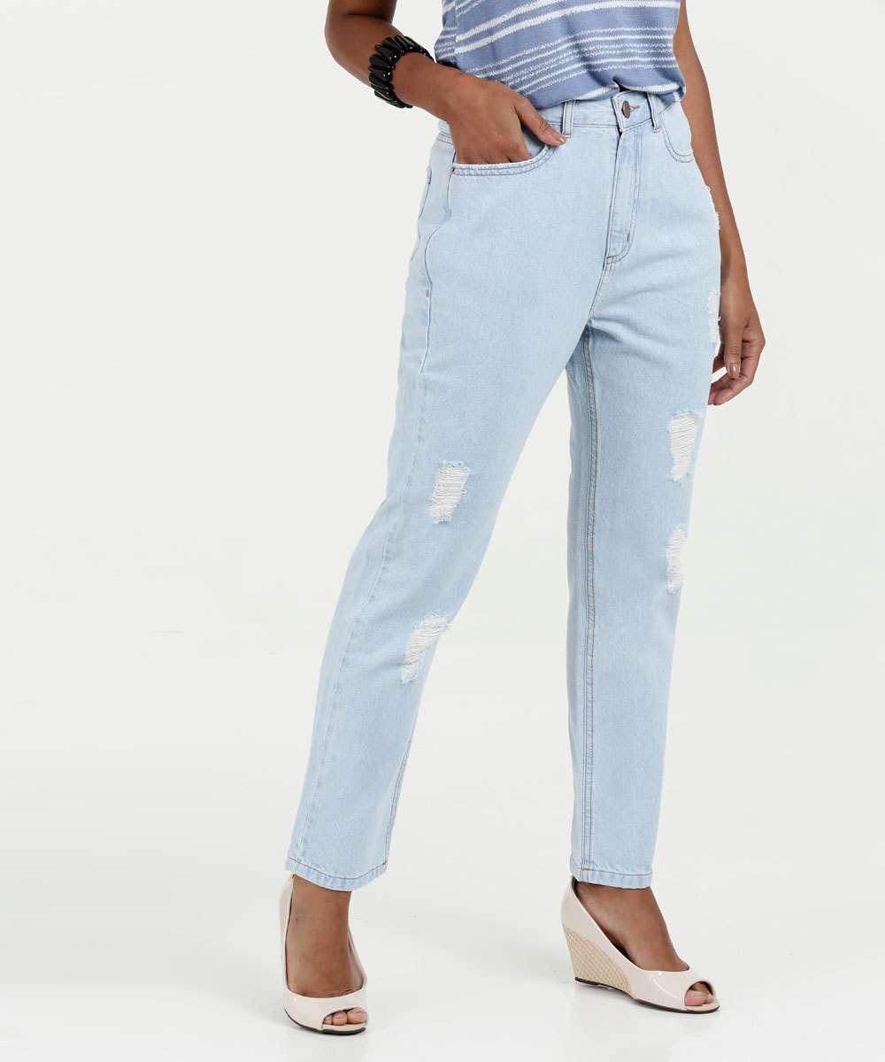 6e194f8e6 Calça Feminina Mom Jeans Puídos Marisa   Marisa