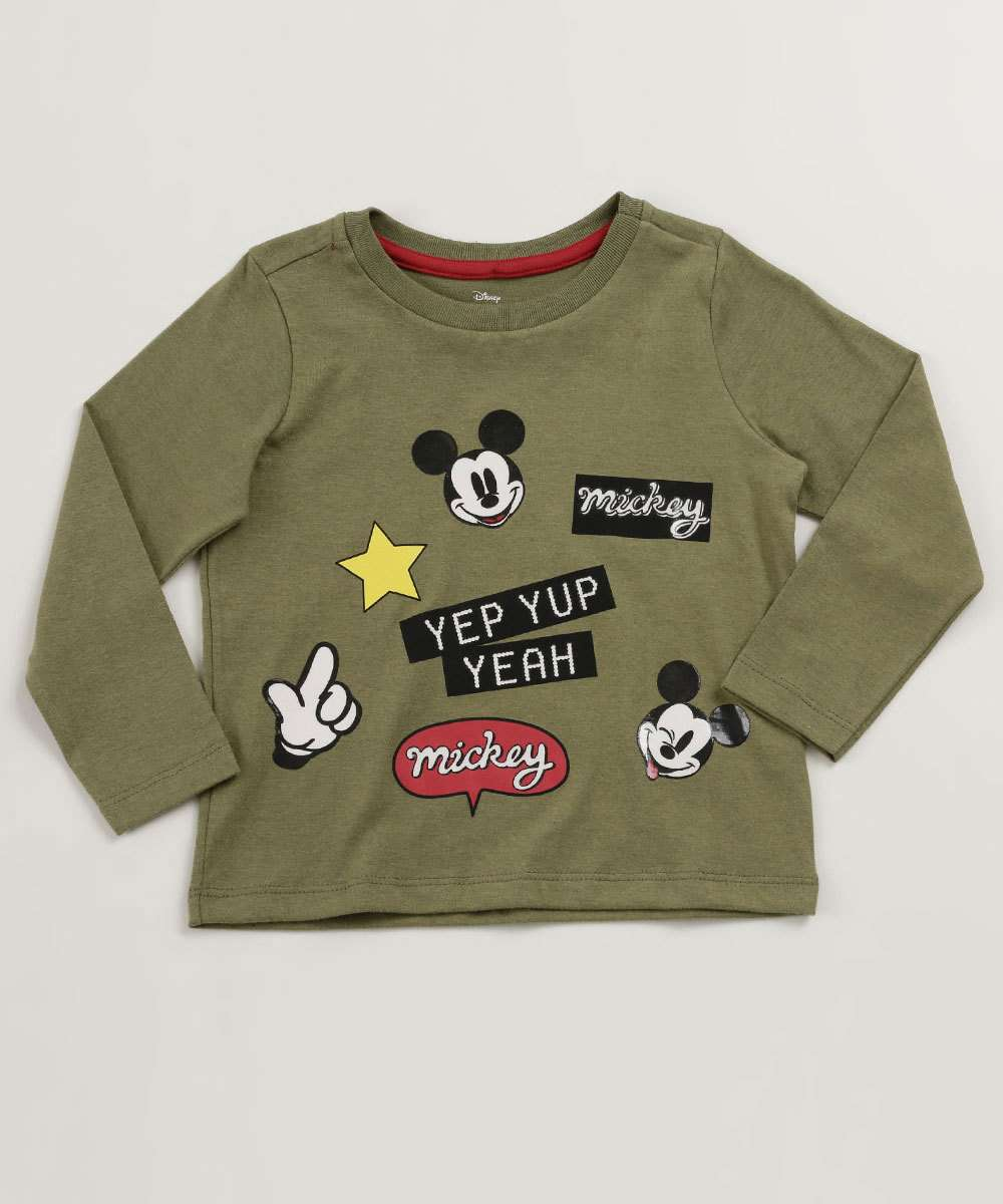 Camiseta Infantil Patches Mickey Manga Longa Disney