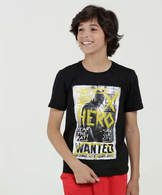 46d4551281c56 Camiseta Juvenil Estampa Batman Manga Curta Liga da Justiça