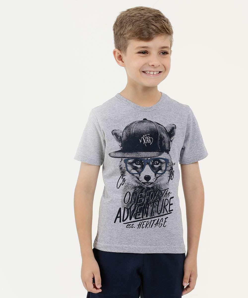 Camiseta Infantil Estampa Raposa Manga Curta