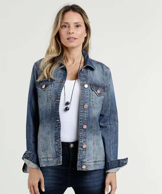d2528f02d Jaqueta Feminina Jeans Bolsos Marisa