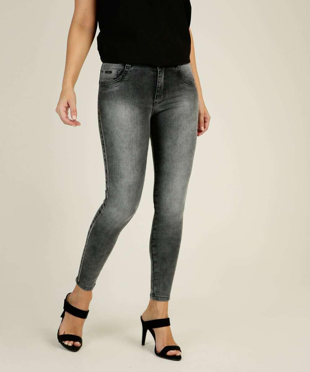 Calça Jeans Skinny Feminina Strass Biotipo