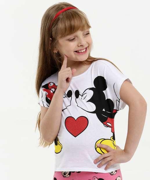 Image_Blusa Infantil Estampa Minnie Mickey Glitter Manga Curta Disney