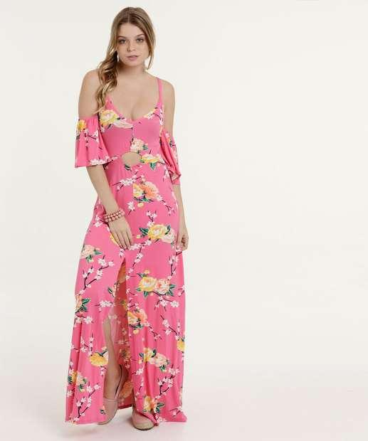 Image_Vestido Feminino Longo Open Shoulder Estampa Floral Marisa