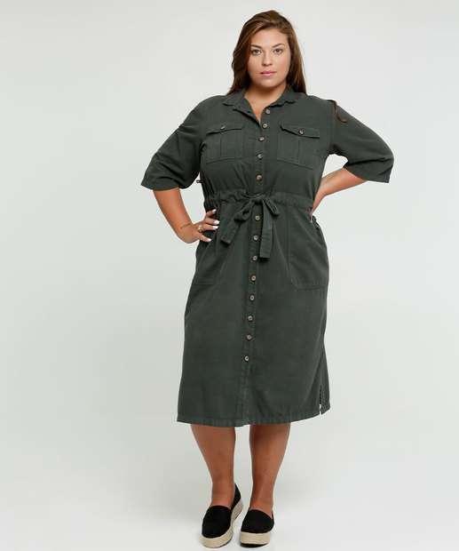 Image_Vestido Feminino Chemise Sarja Amarração Plus Size