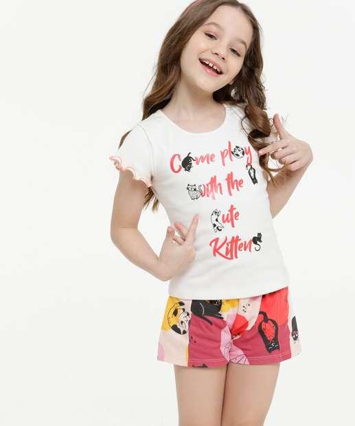 Image_Conjunto Infantil Manga Curta Estampa Gatos Tam 4 a 10