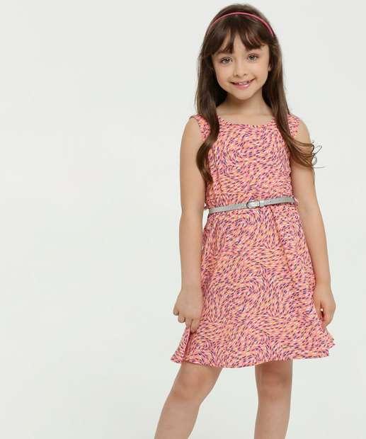 Image_Vestido Infantil Estampado Cinto Sem Manga Marisa