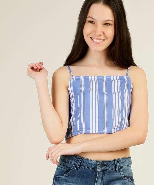 Image_Blusa Juvenil Cropped Listrada Alças Finas Marisa Tam 10 ao 16