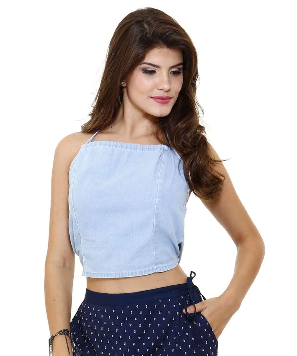 70fd3848f Blusa cropped em jeans modelo frente única Marisa | Marisa