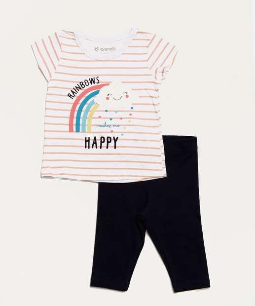 Image_Conjunto Infantil Bebê Listrada Manga Curta Brandili