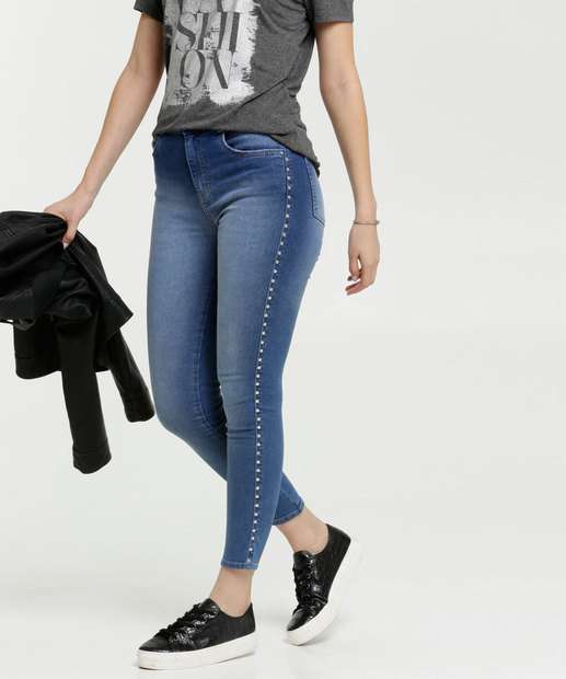 Image_Calça Jeans Skinny Feminina Tachas Marisa