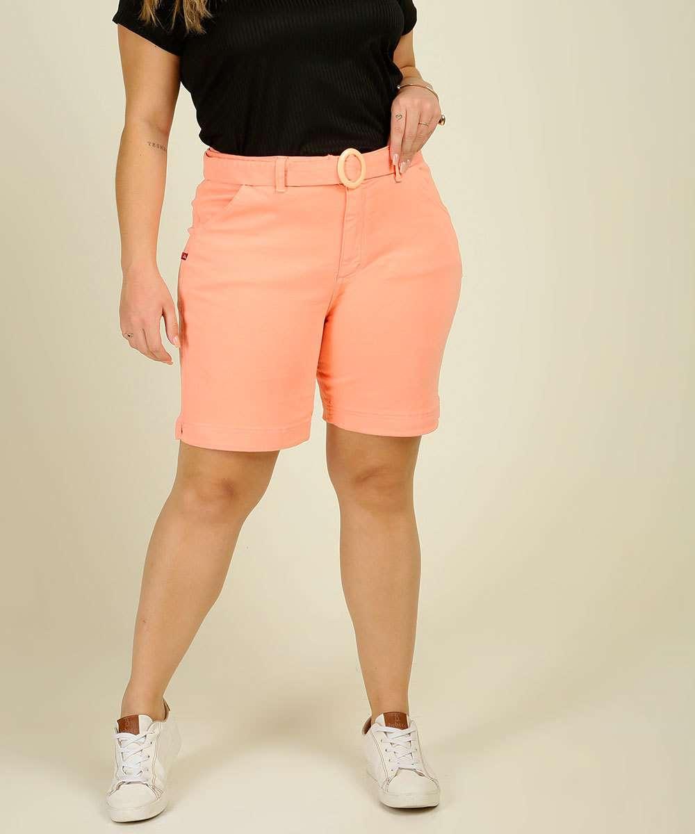 Bermuda Plus Size Feminino Sarja Cintura Alta