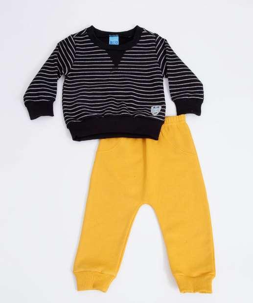 Image_Conjunto Infantil Bebê Moletom Listras Bito