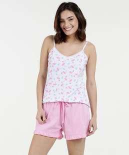 1e74c5c2b Pijama Feminino Short Doll Estampado Alças Finas Marisa
