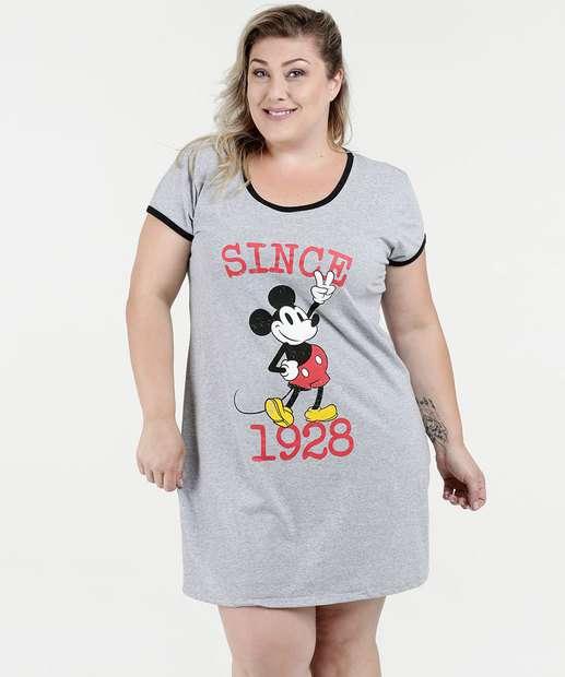 Image_Camisola Feminina Plus Size Mickey Manga Curta Disney