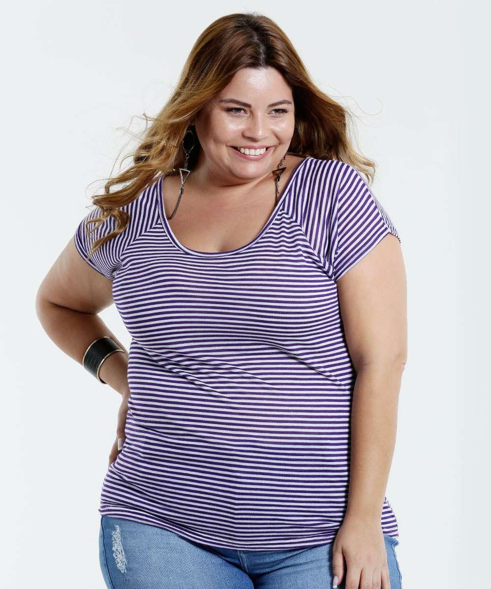Image_blusa feminina Plus Size listrada marisa
