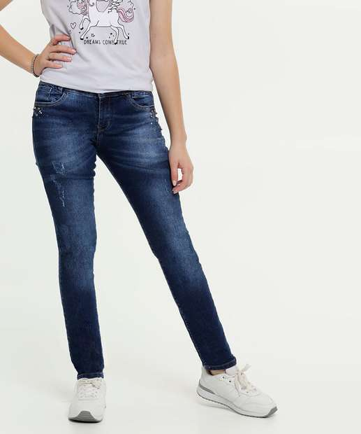 Image_Calça Juvenil Jeans Puídos Tachas