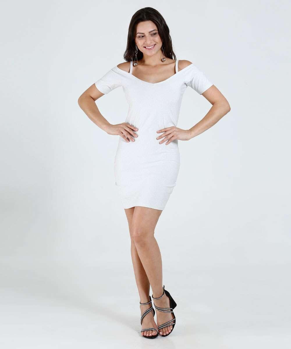 f68474addd Vestido Feminino Open Shoulder Lurex Marisa