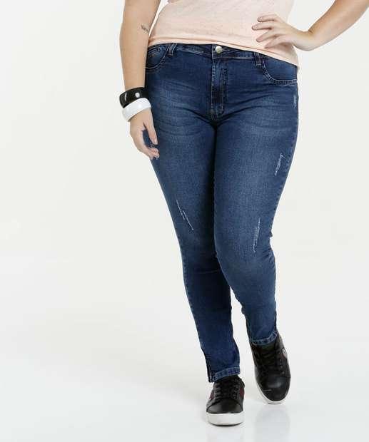 Image_Calça Feminina Plus Size Jeans Skinny Puídos Sawary
