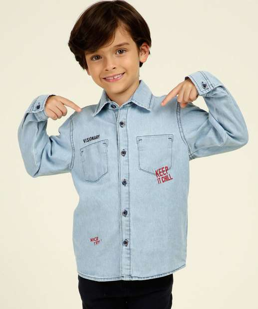 Image_Camisa Infantil Jeans Manga Longa MR Tam 4 a 10