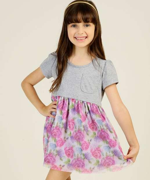Image_Vestido Infantil Manga Curta Estampa Floral Tam 4 a 10