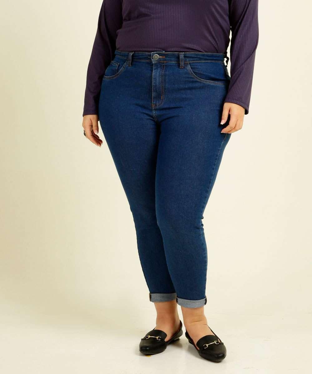 Calça Plus Size Feminina Jeans Skinny Bolsos