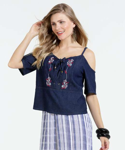 Image_Blusa Feminina Jeans Open Shoulder Bordado Marisa