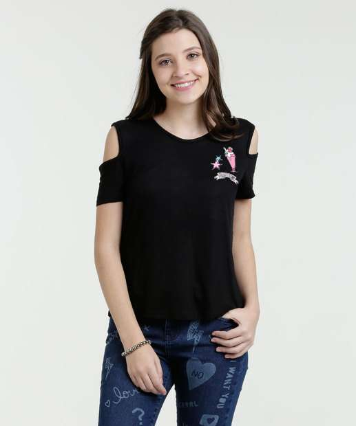 Image_Blusa Juvenil Open Shoulder Patches Manga Curta Marisa