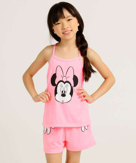 Image_Pijama Infantil Alças Finas Estampa Minnie Disney Tam 2 a 10
