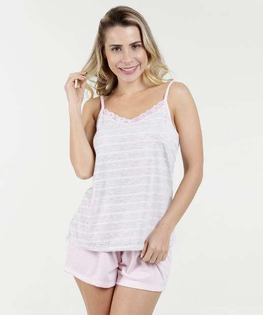 Image_Pijama Feminino Short Doll Listrado Alças Finas Marisa
