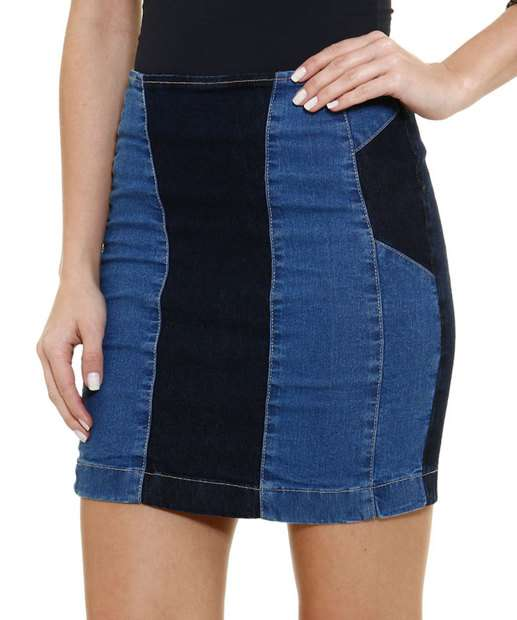 Image_Saia feminina em jeans bicolor Marisa