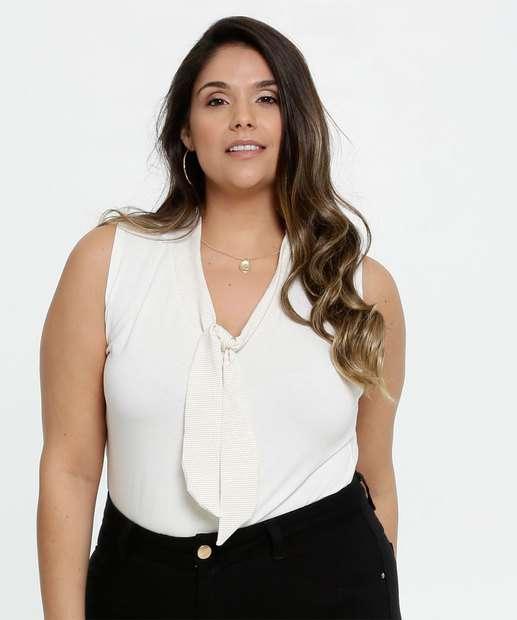 Image_Body Feminino Lurex Tiras Amarração Plus Size Sem Manga