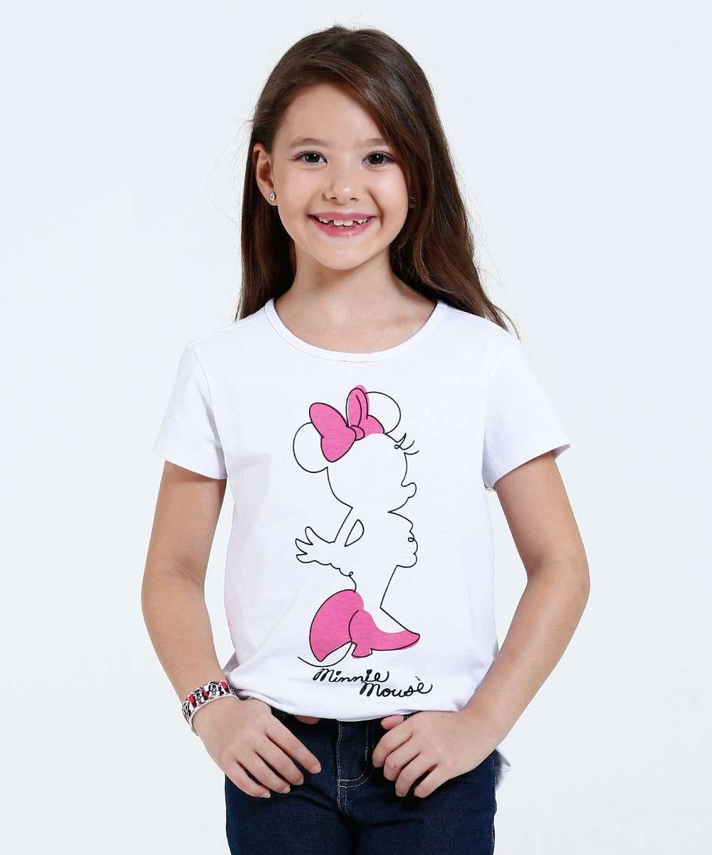 Blusa Infantil Estampa Minnie Manga Curta Disney Blusa Infantil ideal para meninas 04 até 12 anos, confeccionado em teci...