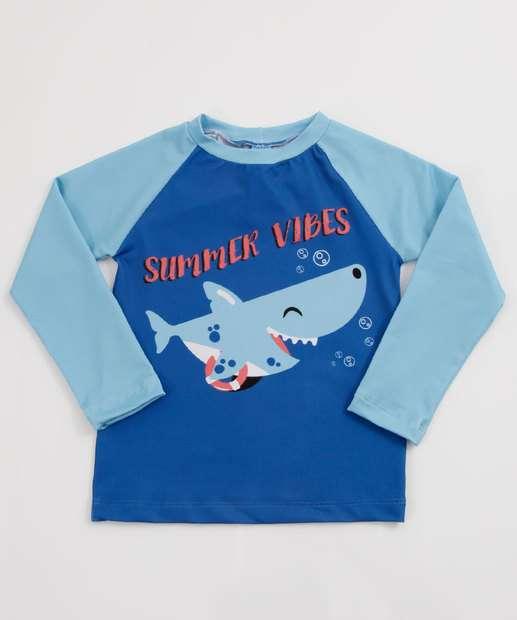 Image_Camiseta Infantil Praia Estampa Tubarão Manga Longa MR