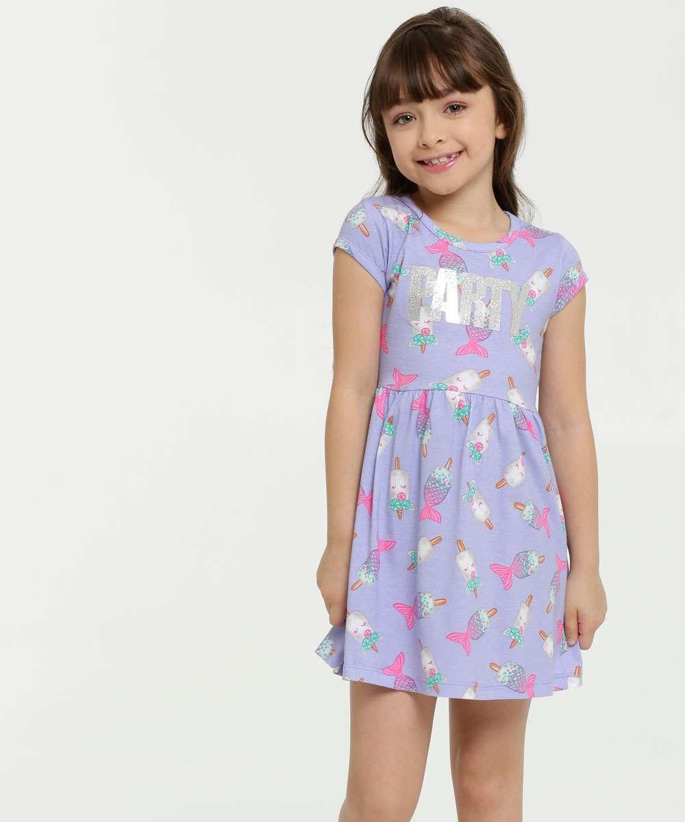 Vestido Infantil Estampado Manga Curta Brandili