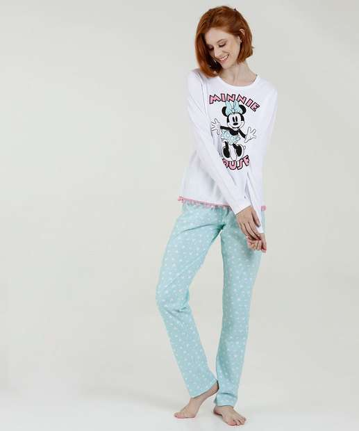 Image_Pijama Feminino Estampa Minnie Manga Longa Disney